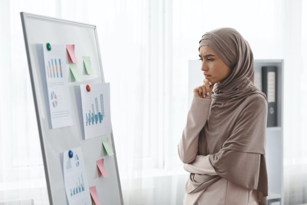 Thoughtful muslim businesswoman analysing graphs and charts on office board